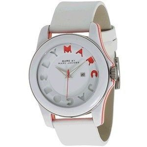 Marc By Marc Jacobs Icon Stripe and White Leather Band Watch MBM4010