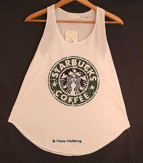 Ladies Girls Top Starbucks print Tank Vest Sleeveless T Shirts