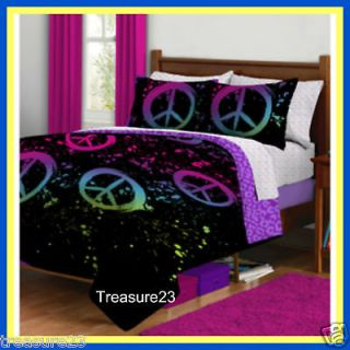 peace signs girls teen full bed in a bag bedding