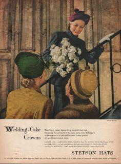 1946 vintage stetson hats for women wedding cake print ad
