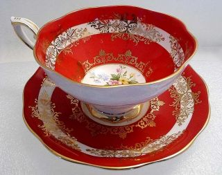 MID Century Dynamic Red White & Golden ROYAL STANDARD Fine Bone China