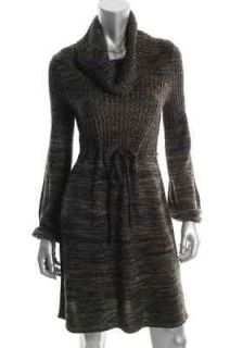 Calvin Klein NEW Brown Ribbed Cowl Neck Long Sleeve Sweaterdress S