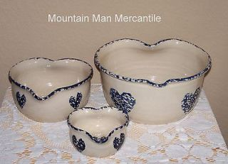 Marshall Pottery Blue Heart Spongeware Nesting Bowls signed by Bill