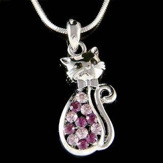 Crystal ~Purple Kitty Cat~~ Kitten Pet Animal Lover Pendant Necklace