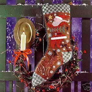 Feather Wish Upon A Star Christmas Stocking Cross Stitch Chart SANTA
