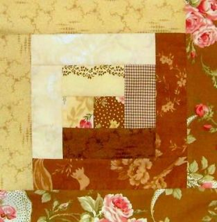 Robyn Pandolph 12 Block Log Cabin PRE CUT Patchwork Quilt Kit BOXWOOD