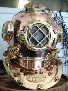 STRONG US NAVY MARK V U.S. DIVERS DIVING HELMET WITH WOOD BASE