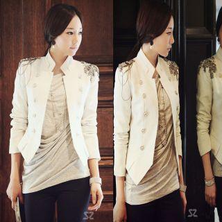 Noble Korean Womens Slim Short Epaulet Blazer Suit Jacket Coat