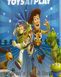 Disney Toy Story Buzz Lightyear Woody Rex Boy Fabric Shower Curtain