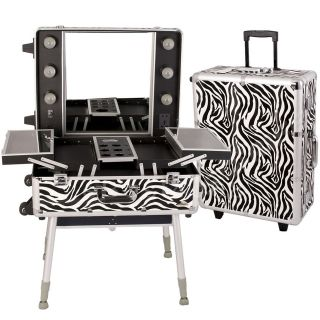 Sunrise Aluminum Makeup Station case with lights international outlet