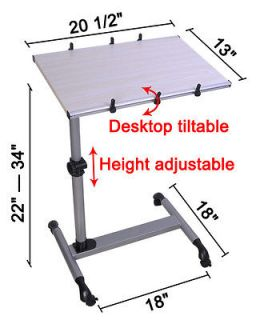 Adjustable Food Tray Rolling Hospital Over Bed Laptop Table TV
