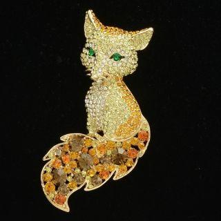 chic animal fox brooch pin 3 2 topaz swarovski crystals