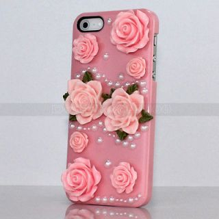 Pink Pretty Glossy Roses Flowers Sweet Pear For iPhone 5 5G Skin Back