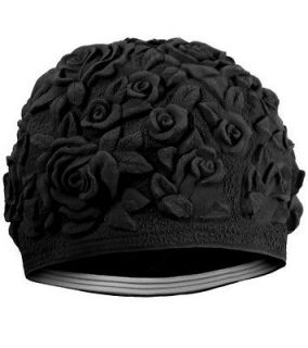 Floral Embossed Flowers Vintage Style Latex Rubber Swim Cap NEW IN BAG