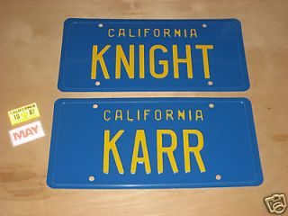 Knight Rider *Metal Stamped* KITT & KARR License Plate Combo & Sticker