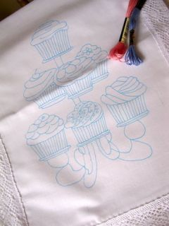 ready to embroider table runner with cup cakes  12 88 buy
