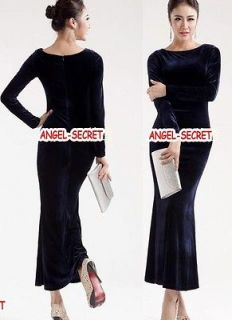 J319 WOMEN sexy slim VELVET NAVY blue long dress long sleeves S/M/L/XL