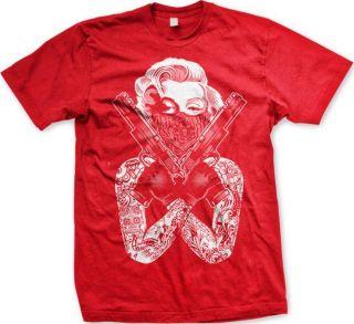 Monroe Gangster Bandana Guns Swag Tough Tattoo New Mens T shirt