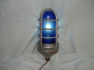 GAMEWELL Police Alarm COBALT BLUE GLASS LIGHT Fire Call Box telegraph