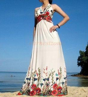 Party Beach Sundress Vtg Wedding Bridesmaid Maxi Long Dress M US 6 8