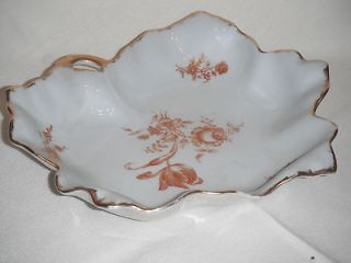 Vintage Limoges France Leaf Candy Dish gold leaves roses poutpourri