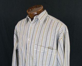 Jhane Barnes White, Black and Gray Striped Casual Shirt Size L