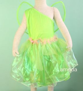 HALLOWEEN TINKERBELL DRESS WINGS COSTUME 2PC OUTFIT BIRTHDAY PARTY 1