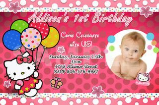 HELLO KITTY BIRTHDAY PARTY INVITATION PHOTO 1ST CUSTOM BABY SHOWER   6