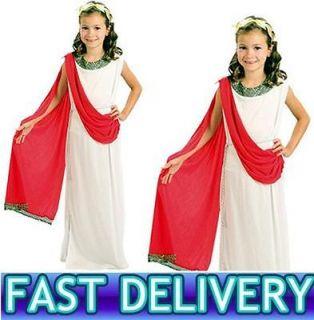 GIRLS GREEK RED ROMAN GODDESS TOGA EGYPTIAN FANCY DRESS COSTUME 590