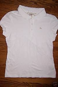 womens jr girl tommy hilfiger white polo shirt top l