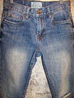 Driggs mens boys 27/28 slim bootcut blue jeans skinny worn torn