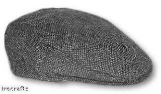 Traditional Irish Grey Tweed Wool Flat Cap Hat Ireland sz XXL v