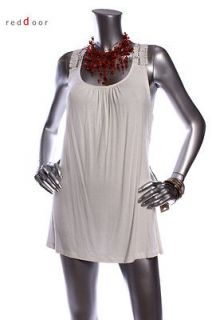 With Tag KENAR Women Sleeveless Knitted Lace Tunic Top Ivory Size L