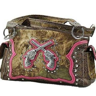 Pink Camo Cross Pistols Handbag Purse Western Country Rodeo Cowgirl