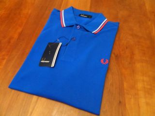 NEW GENUINE Fred Perry Mens Twin Tipped Blue Polo Shirt   RRP £55