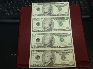 Uncut Sheet of 4 2003 $10 Ten Dollar Federal Reserve Star Notes A1