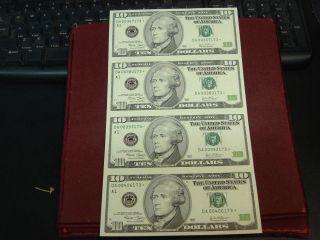 Uncut Sheet of 4 2003 $10 Ten Dollar Federal Reserve Star Notes A1