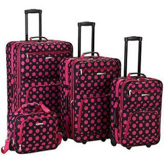 Rockland Fashion Expandable 4 Piece Luggage Set   Black Pink Dot