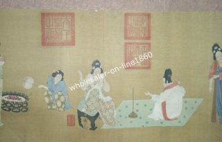 antique chinese paper scroll painting portrait from china time left
