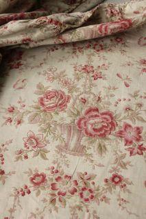 Antique French Ciel de lit corona ruffle / valance textile faded