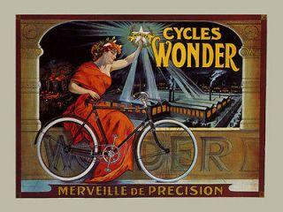 Girl Bicycle Bike Cycles Wonder French Vintage Poster Repro FREE SH