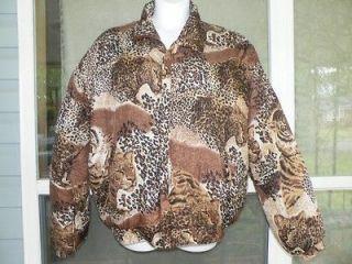 Sz XL FUDA International Leopard / Tiger Print Filled Soft 100% Silk
