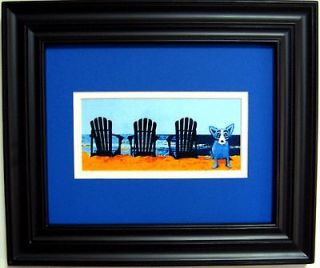 GEORGE RODRIGUE BLUE DOG PROMO POSTCARD   FRAMED   13.25 x 11.25