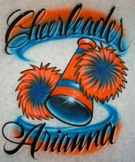 Airbrush Personalized T shirt Cheerleader Design With Name