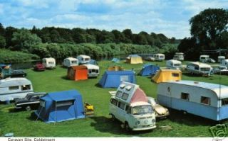 CARAVAN TENTS CAMPING VW CAMPER VAN OLD CARS POSTCARD MINT CONDITION