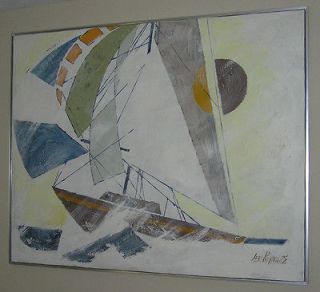 LEE REYNOLDS PAINTING SAILBOAT 49 X 61 SIGNED W NUMBER ON BACK AND