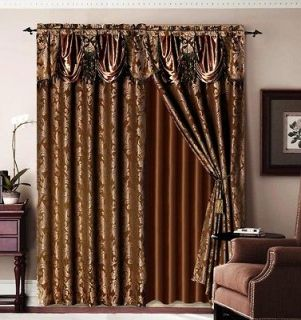 Brown Jaquard Bronze Panel Valance Curtain Drapes Window Set New