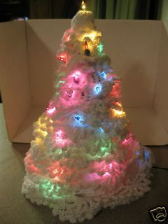 Lighted White Crocheted Christmas Tree 13 High Gorgeous
