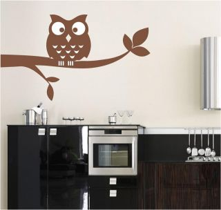 OWL AND TREE WALL ART STICKER DECAL CHOOSE FROM 21 DIFFERENT COLOURS