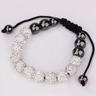 Wholesale 10MM White Czech Crystal shamballa friendship bracelets+gift